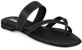 Manolo Blahnik Susa Leather Thong Sandals