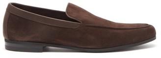 John Lobb Tyne Leather-trimmed Suede Loafers - Dark Brown