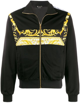 Versace Barocco logo bomber jacket