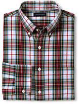 Lands' End Men's Tailored Fit Buttondown Collar Sail Rigger Oxford Shirt-Drake Green Plaid