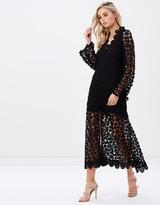 Long Sleeve Maxi Crochet Embellished Dress