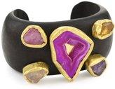 """Zariin """"Whispering Woods"""" Multi-Colored Stones Wooden Cuff Bracelet"""