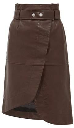 Ganni Asymmetric Grained-leather Skirt - Womens - Dark Brown