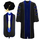lescapsgown Deluxe Doctoral Graduation Gown Hood and 8 Sided Tam Package(Black 45)