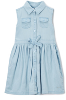 DKNY Light Wash Denim Shirt Dress - Girls