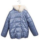 Lili Gaufrette Girls' Fur-Trimmed Coat