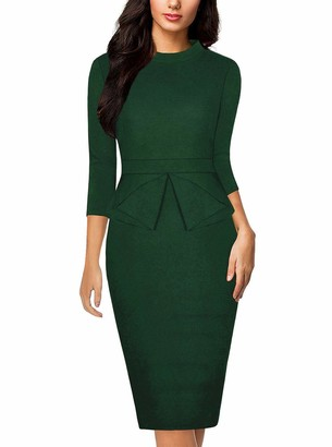 Moyabo Women's 3/4 Sleeves Tea Length Office Work Solid Color Pencil Professional Dress Grey XX-Large