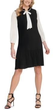 DKNY Pleated Tie-Neck Shift Dress