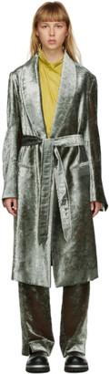 Ann Demeulemeester Green Velvet Belted Coat