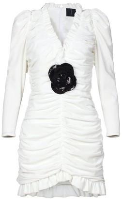 Rue Agthonis White Velvet Sequin Lace Ruffle Dress