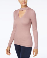 Hippie Rose Juniors' Mock-Neck Cutout Rib-Knit Sweater