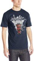 Crooks & Castles Men's Knit Medusa Speckle Tiger T Shirt Navy Blue M