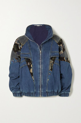 Stella McCartney Patchwork Denim, Jacquard And Cotton-corduroy Jacket - Blue