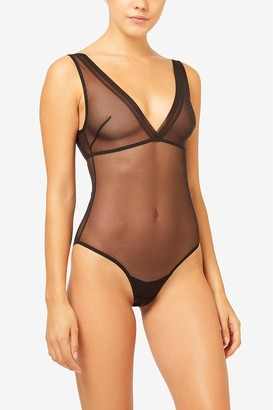 French Connenction Mesh Plunge Bodysuit