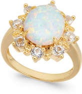 Macy's Lab-Created Opal (2 ct. t.w.) & White Topaz (1 ct. t.w.) Ring in 14k Gold-Plated Sterling Silver