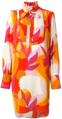 Rebecca Vallance Paradise abstract-print blouson-sleeved dress