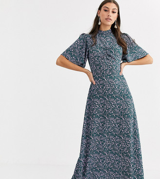 Fashion Union Tall high neck midaxi tea dress with flutter sleeve-Green