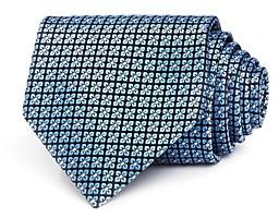 Ermenegildo Zegna Mini-Clover Grid Silk Classic Tie