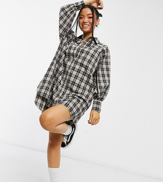 ASOS DESIGN Petite oversized boyfriend mini shirt dress in cream black check