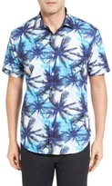 Bugatchi Men's Shaped Fit Tropical Print Short Sleeve Sport Shirt