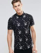 Asos Skinny Fit Shirt With Floral Print In Black And Short Sleeve