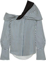Hellessy Calla Off-the-shoulder Striped Silk-satin Twill Top - Navy