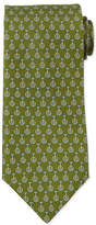 Salvatore Ferragamo Unicycle-Print Silk Tie, Green