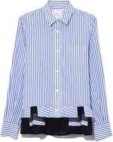 Sacai Shirting Pleated Button Shirt in Blue Stripe