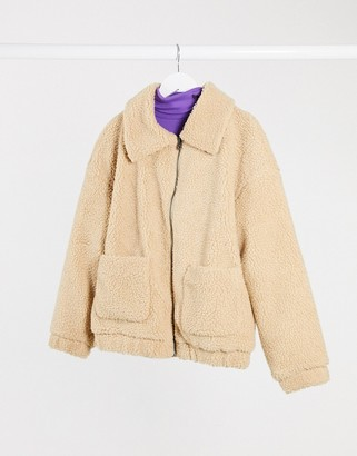 Only pocket detail teddy jacket in sand