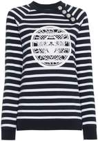 Balmain Striped logo sweatshirt with silver buttons