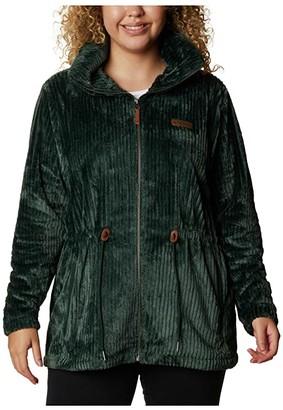 Columbia Plus Size Fire Sidetm Sherpa Long Full Zip (Spruce Stripe) Women's Clothing