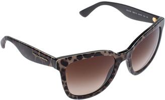Dolce & Gabbana Black/Brown DG4190 Gradient Leopard Print Cat Eye Sunglasses