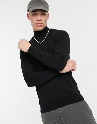 Asos DESIGN muscle fit turtle neck jumper in black