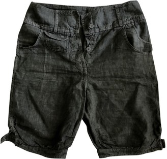 120% Lino Green Cotton Shorts for Women