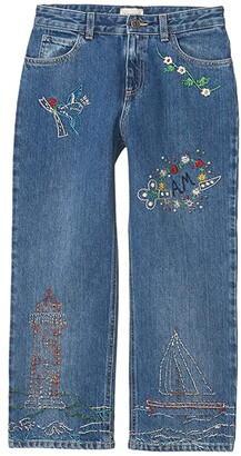 Gucci Kids Stone Washed and Treated Denim Loose Pants (Big Kids) (Blue/Multicolor) Girl's Jeans