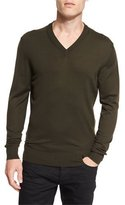 Tom Ford Lightweight Merino V-Neck Sweater, Olive