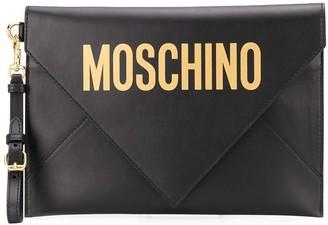 Moschino logo print envelope clutch