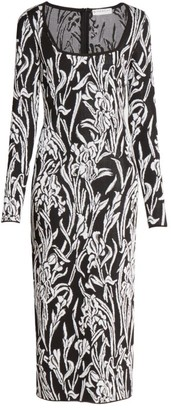 Givenchy Smocked Iris Jacquard Midi Dress