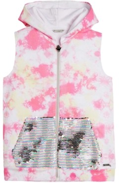 GUESS Big Girls Cotton Tie-Dyed Flip-Sequin Hoodie