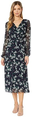 Lauren Ralph Lauren Franny Santoyo Floral Long Sleeve Day Dress (Lighthouse Navy/Colonial Cream) Women's Dress