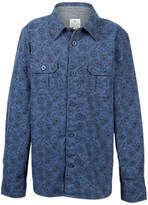 Fat Face Boys' Newton Bicycle Print Shirt, Slate Blue
