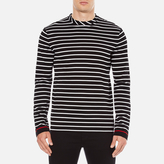 McQ by Alexander McQueen Men's Long Sleeve Crew Stripe TShirt - Stripe White/Black