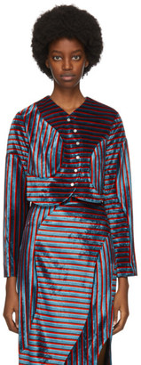 Eckhaus Latta Red and Blue Velvet Wave Cardigan