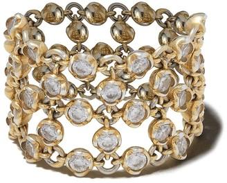 Annoushka 18kt yellow gold Net lattice diamond ring