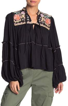 Free People In Vivid Embroidered Tiered Shirt