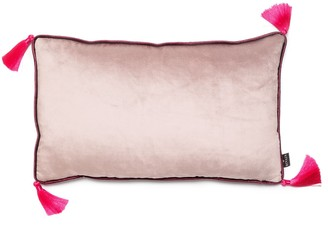 Bivain Silver Grey Velvet Rectangular Cushion With Tassels