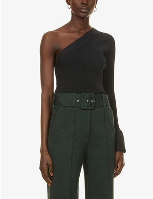 Theory One-shoulder stretch-knit top