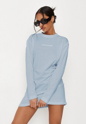 Missguided Blue Long Sleeve T Shirt Dress