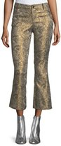 Alice + Olivia Drew Metallic Jacquard Cropped Bell Pants