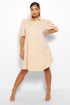 boohoo Plus Tiered Woven Shirt Dress
